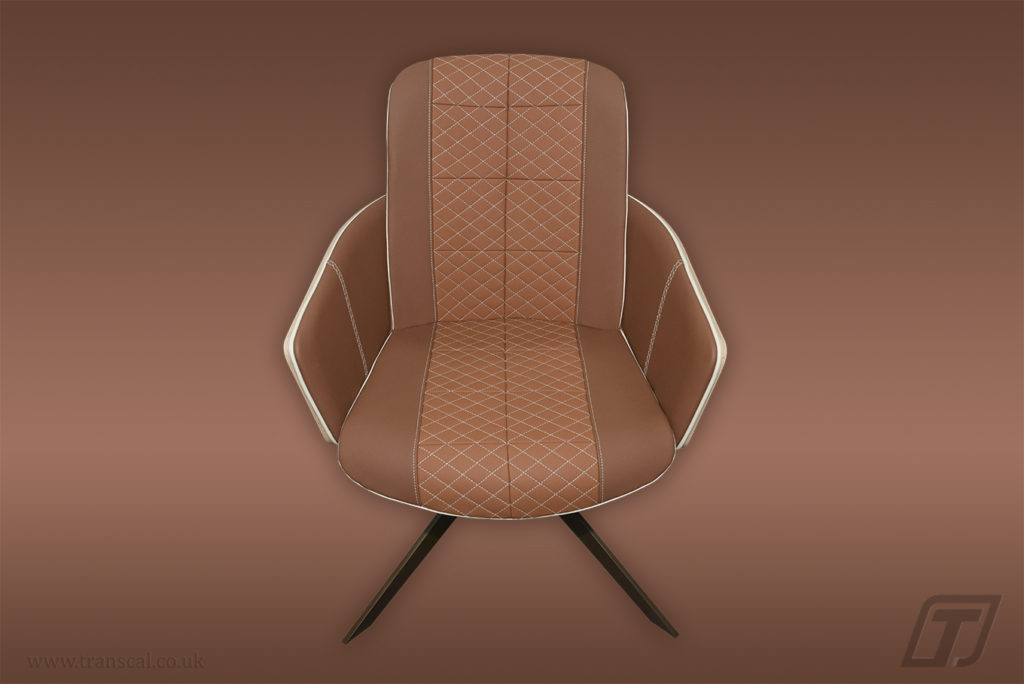 Wooden frame leather chair