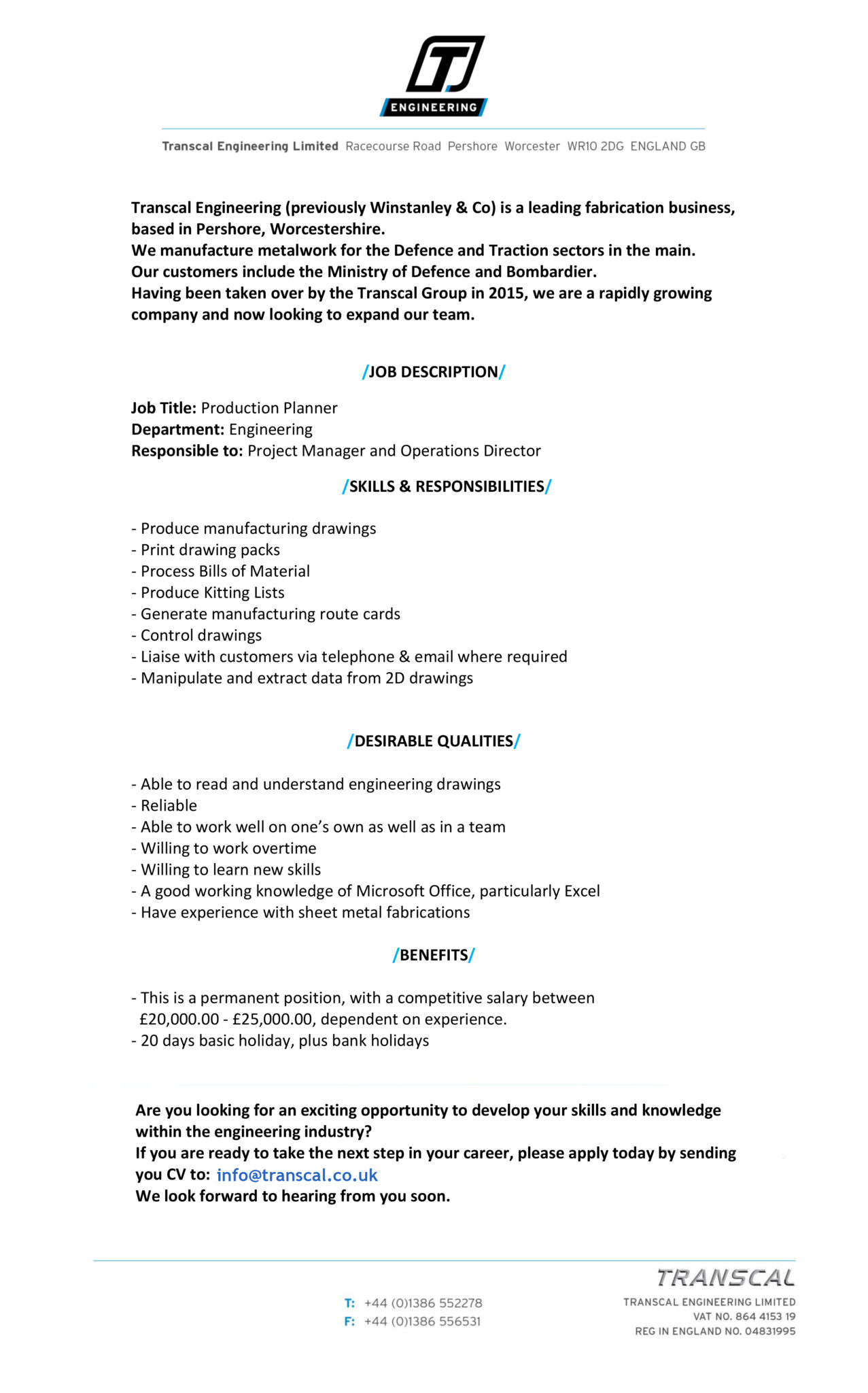 manufacturing technician job description