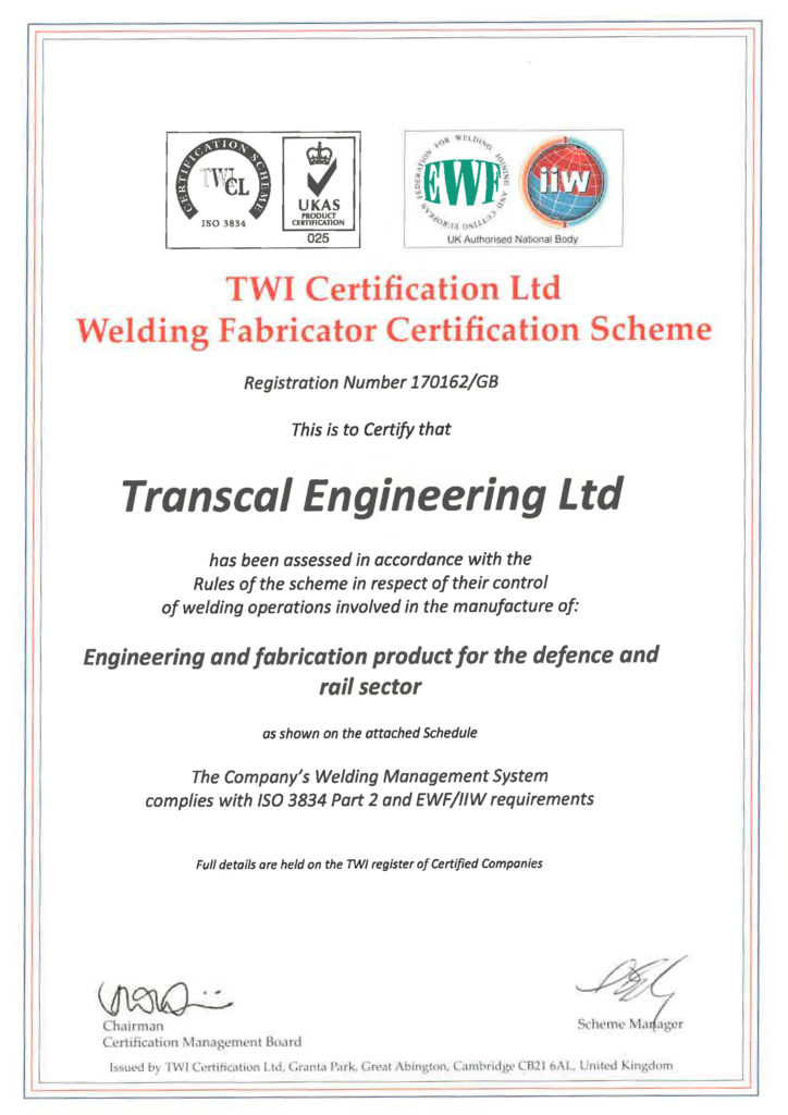 Transcal Engineering Certifaction