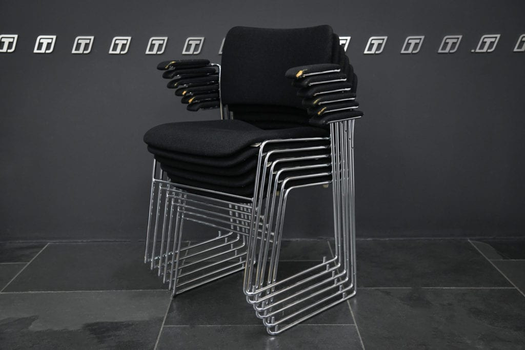 FOR SALE – Set of 6 Danish stacking 40/4 armchairs by Howe, black cloth (pre-used)