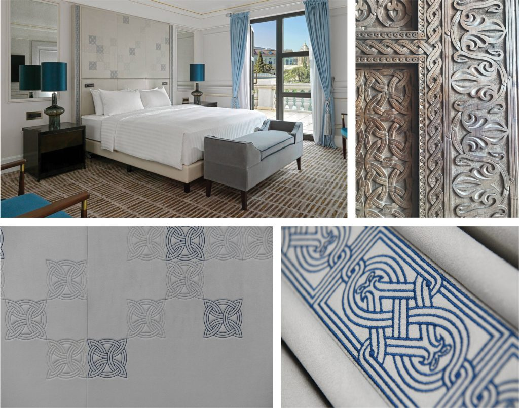 Bespoke embroidered headboards for the newly refurbished Patio Suites in the Marriott Hotel in Tbilisi, Georgia