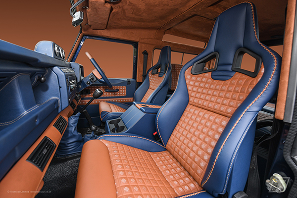 Land Rover Defender 90 bespoke leather/alston interior